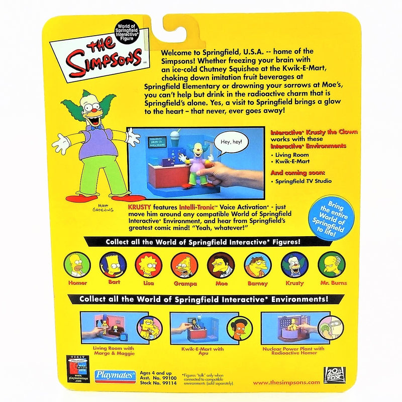 The Simpsons Intelli-tronics Playmates Krusty The Clown Interactive Figure #99100 2000