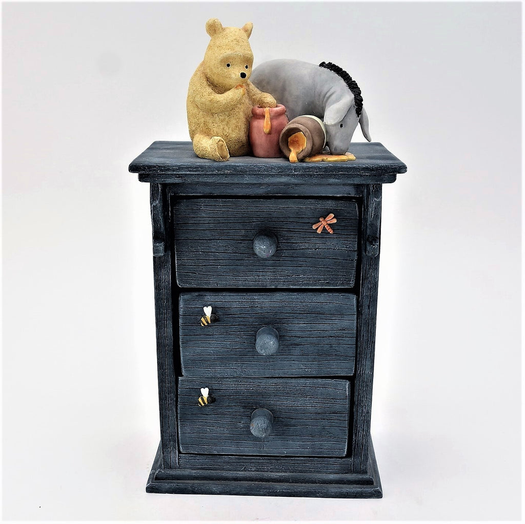 Winnie the Pooh and Eeyore Chest of Drawers Honey Pots Trinket Box
