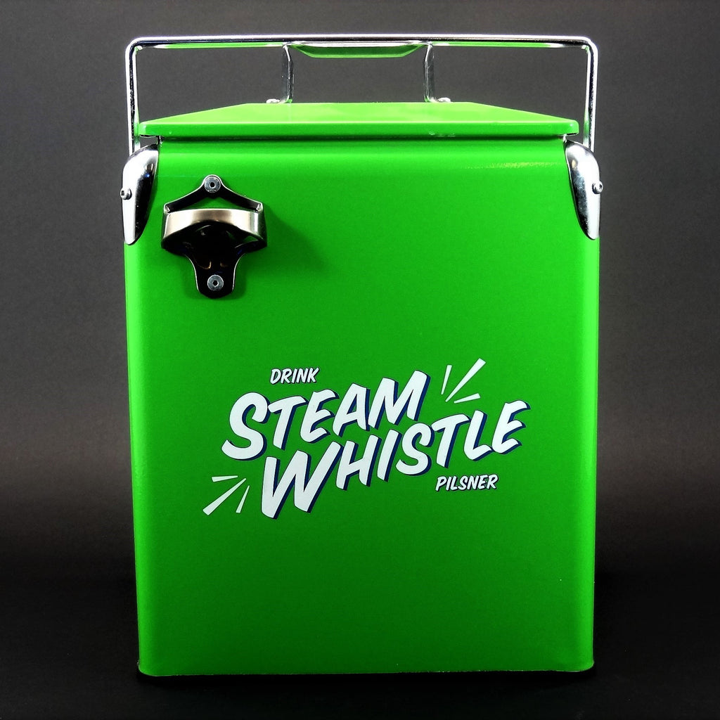 Drink Steam Whistle Pilsner Vintage Looking Cooler With Bottle Opener
