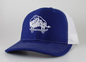 Blue and White Trucker