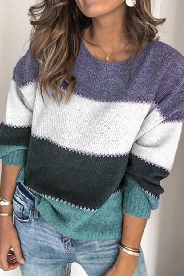 Round neck colorblock long sleeve knit top
