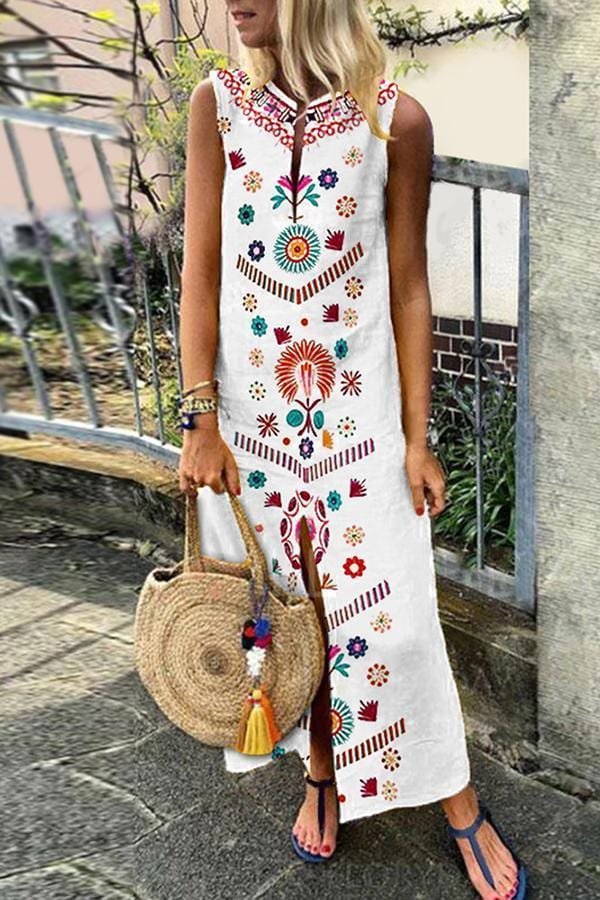 AREALOOK Cotton/Linen Casual V-Neck Vintage Printed Boho Dress