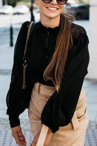 Fashion Black Round Neck Long Puff Sleeves Shirt