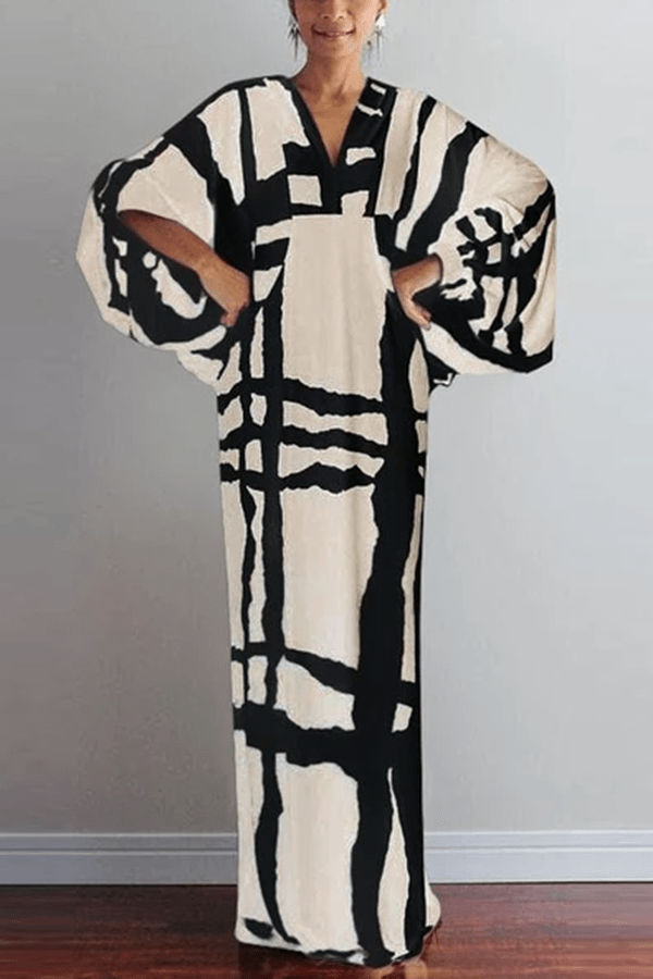 Arealook Fashion V Neck  Printed Colour Long Sleeve Maxi Dresses