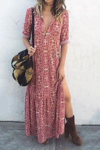 82556cd920f5 Arealook Sexy V Neck Floral Printed Side Split Vacation Maxi Dress