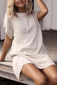 Round Neck Solid Color Cotton And Linen Short Sleeve Dress