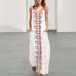 Arealook Dark V-Neck Cotton/Linen Printed Dress