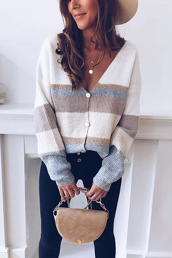 Casual V-neck Single-breasted Contrast Striped Knit Cardigan