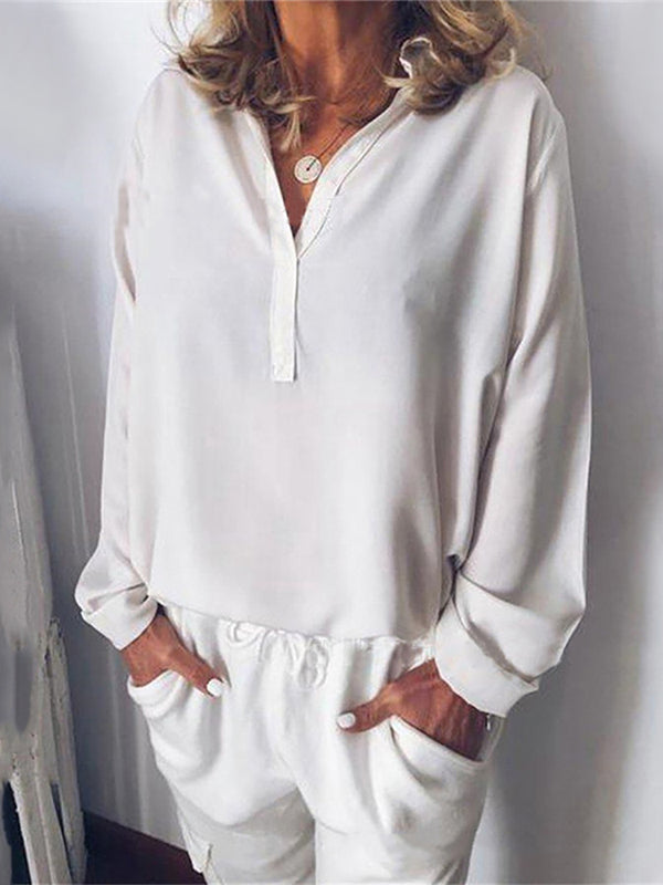 Women's Casual Pure Color Long Sleeve V-Neck Loose Blouse
