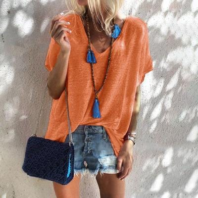 Fashion V Neck Short Sleeve T-Shirts