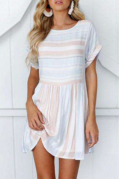 Fashion Short Sleeve Stripe Wrap Casual Mini Dress