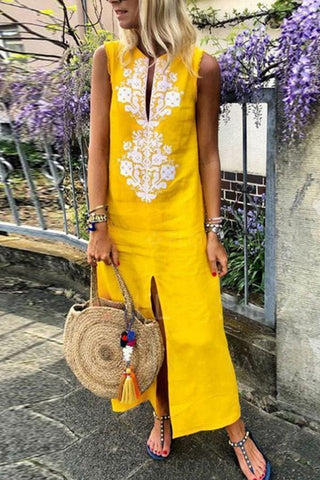 Linen Floral Embroidery Sleeveless Maxi Shift Dress-Yellow