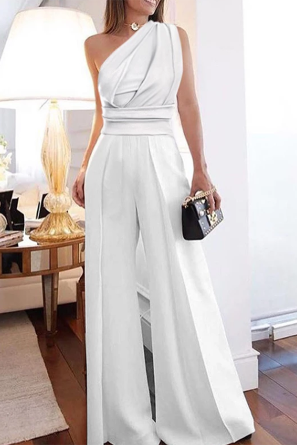 Formal Pure Color Off-Shoulder Sleeveless Jumpsuit