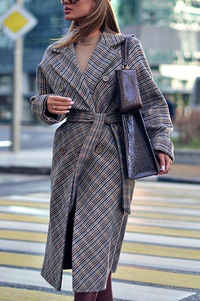 Classic Check Long Sleeves Suit Collar Long Jacket