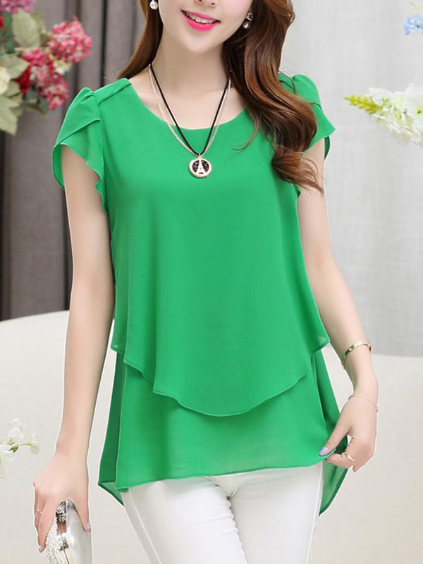 Spring Summer Chiffon Round Neck Plain Petal Sleeve Short Sleeve Blouse