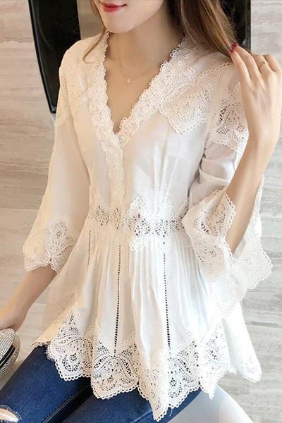 Fashion Lace Splicing   Long Sleeve Top