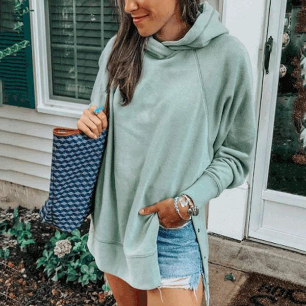 Chic Casual Loosen Long Sleeves Plain Hoodie