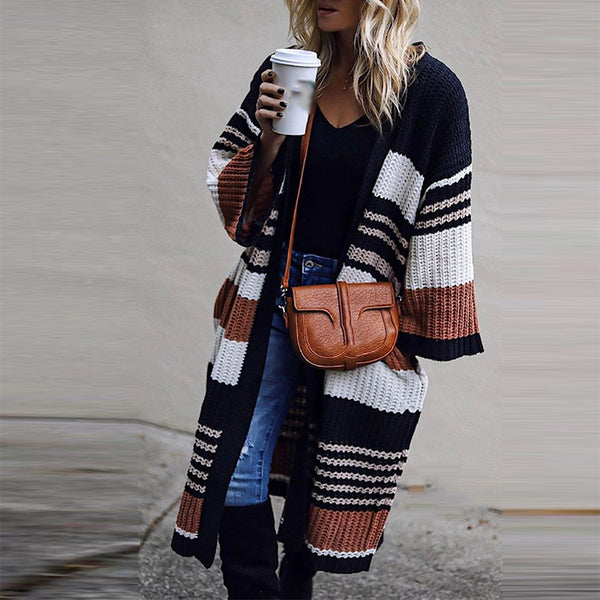 Fashion Colorblock Striped Long Sleeve Pocket Sweater