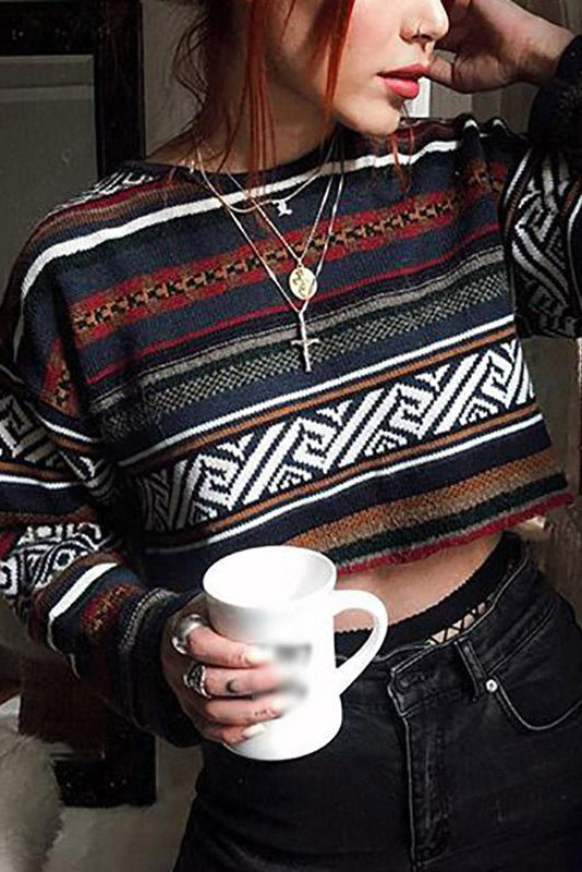 Fashion Printed Long Sleeve Sweater