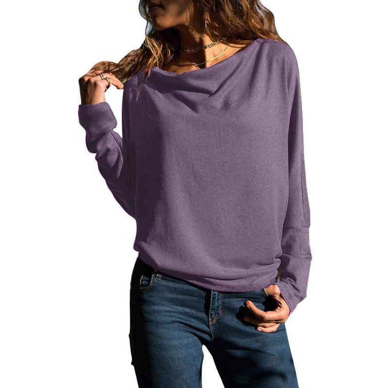 Casual Bat Long Sleeve Pure Colour T-Shirt