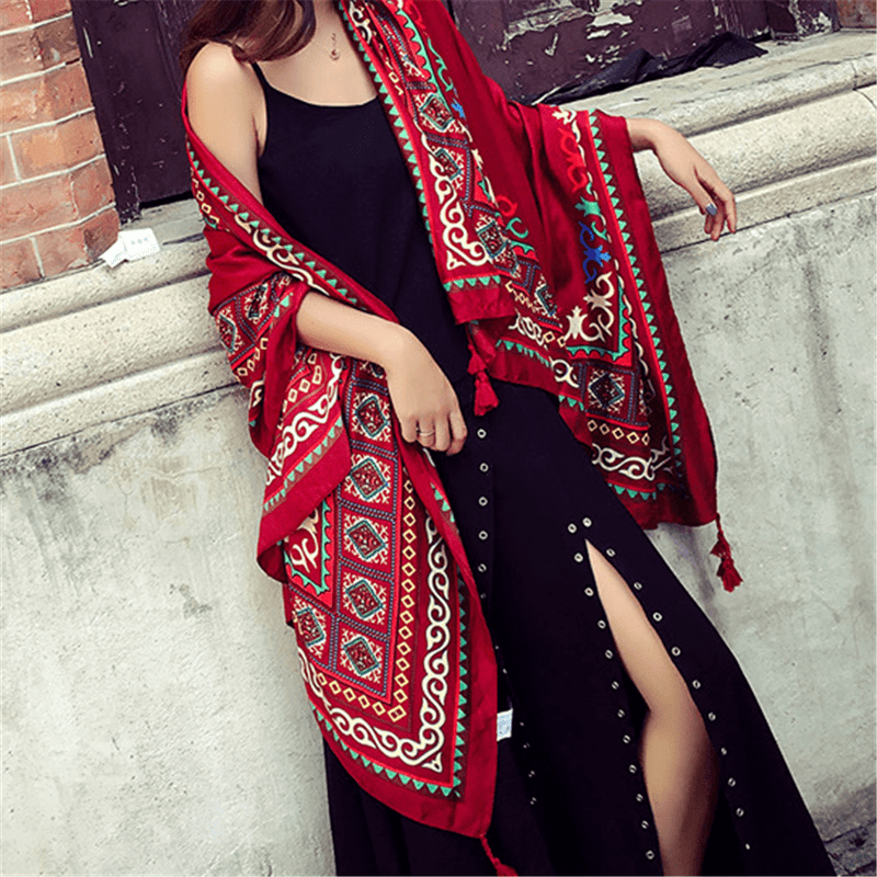 Vintage Printed Ethnic Style Long Shawl