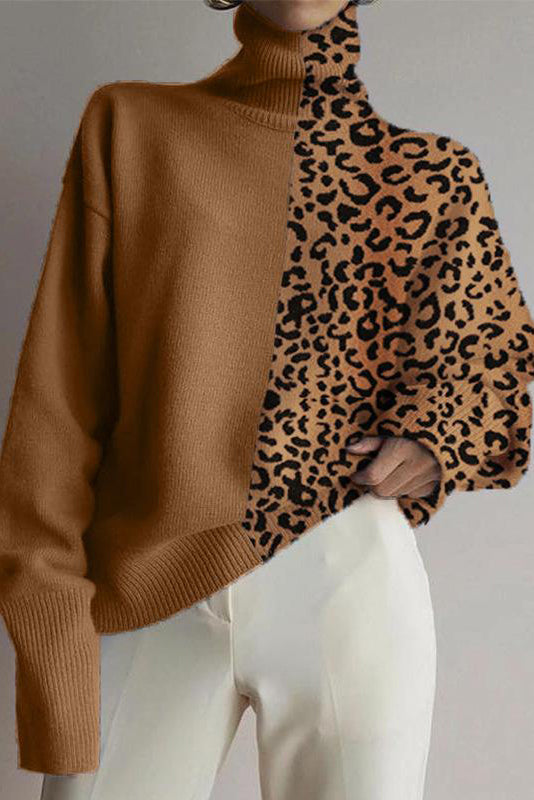 Fashion High Collar Leopard Stitching Loose Sweater