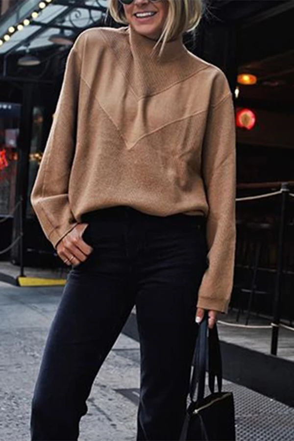 Brief Short High Collar Patchweork Long Sleeves Camel Sweater