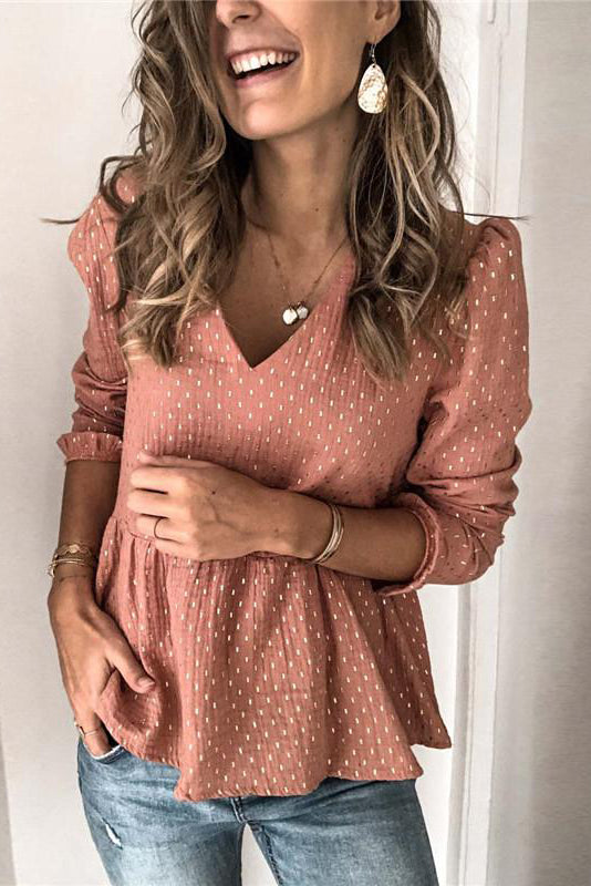 Sexy Ruffled V-neck Shirt