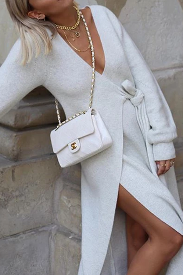 Fashion Casual V Neck Long Sleeves Slit Maxi Dress