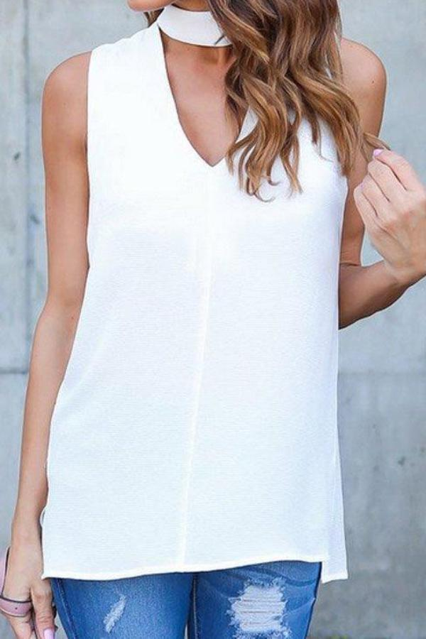 Summer V Neck Plain Sleeveless Blouses