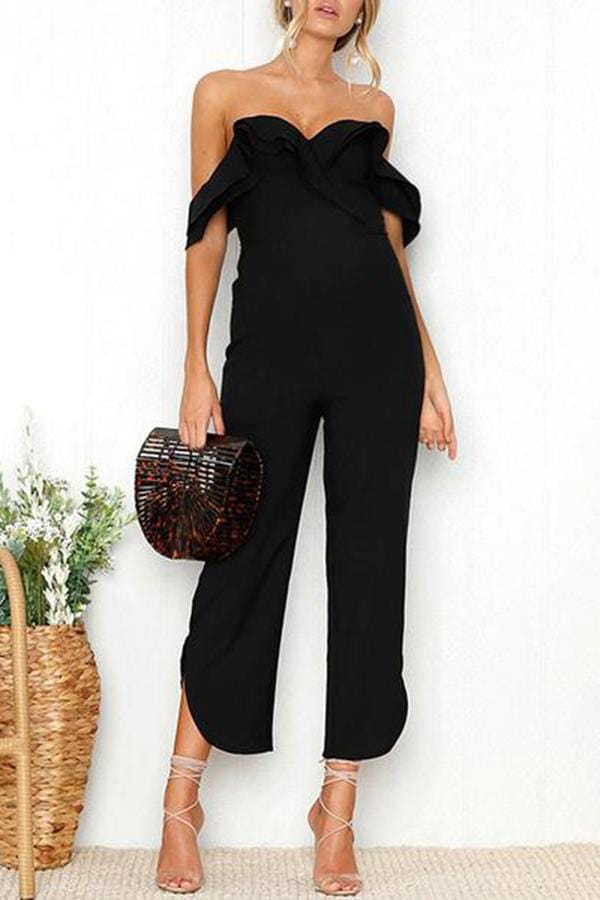 trapless Ruffled Collar Jumpsuits