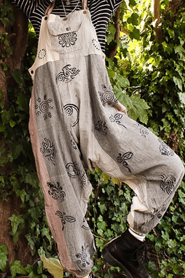 Casual Patchwork Printed Colour Loose Jumpsuit