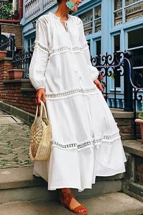 AREALOOK V Neck Lantern Sleeve Hollow Out Maxi Dress