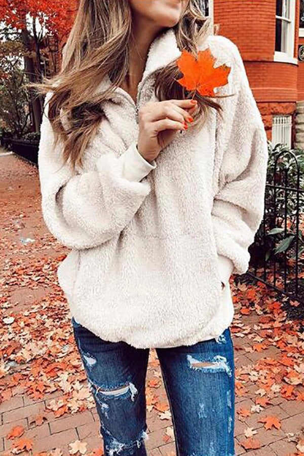 Women's Casual Solid Color Lapel Sweatshirt