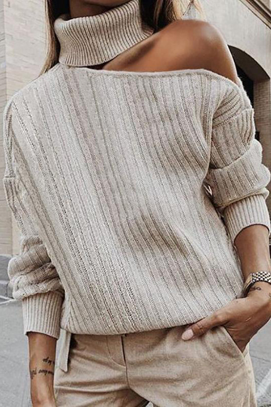Womens Solid Colour Off-shoulder Long Sleeve Sweater