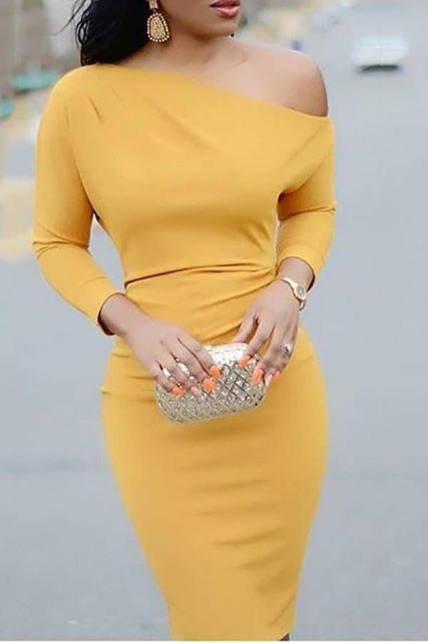 Fashion Solid Color One-Shoulder Bodycon Dress