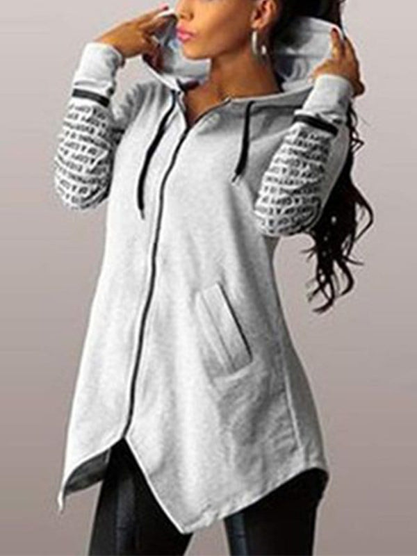 Hoodie Slim Irregular Hem Hooded Coat Plus Sweatshirts