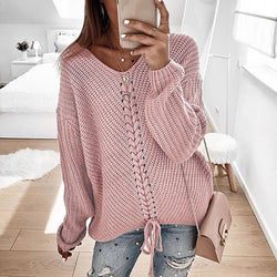 Casual Women Loose V-neck Lace-up Plain Sweater