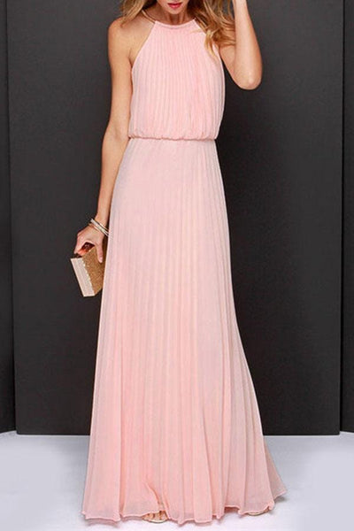 Halter  Back Hole  Plain  Sleeveless Maxi Dresses