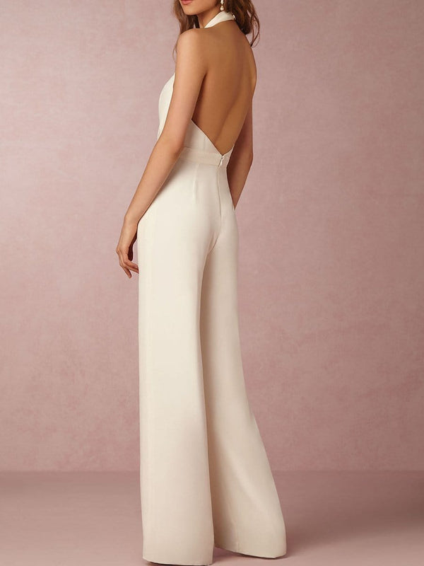 Women Sexy Jumpsuits Formal Sleeveless V-Neck Halter Wide Leg Long Pants