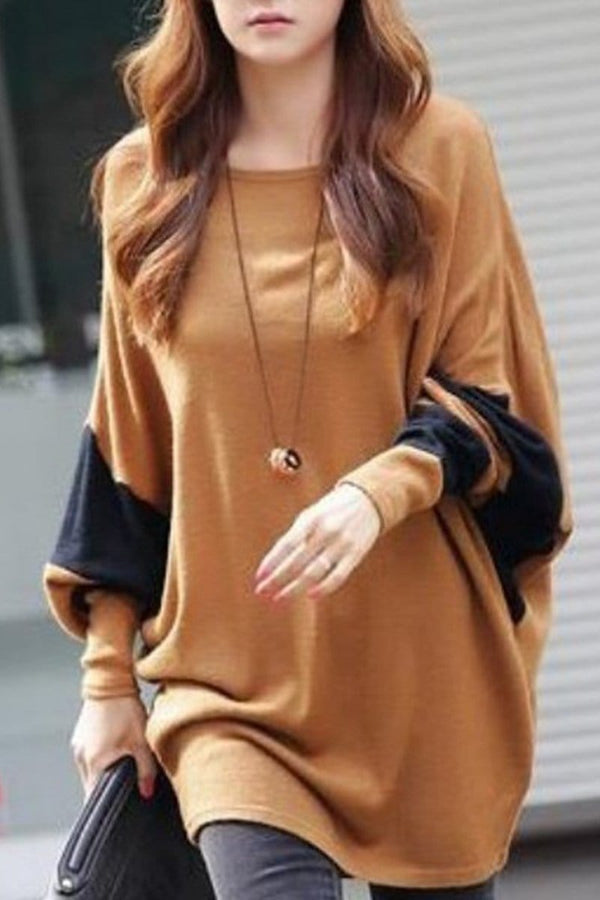 Oversized Color Block Batwing Sleeve T-Shirts