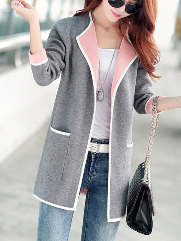 Lapel Contrast Trim Patch Pocket Knitted Coat