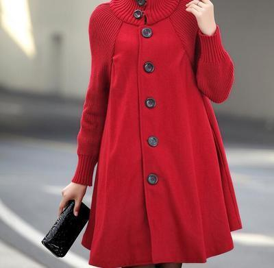 Woolen Jacket Turtleneck Long Overcoat Female Coat