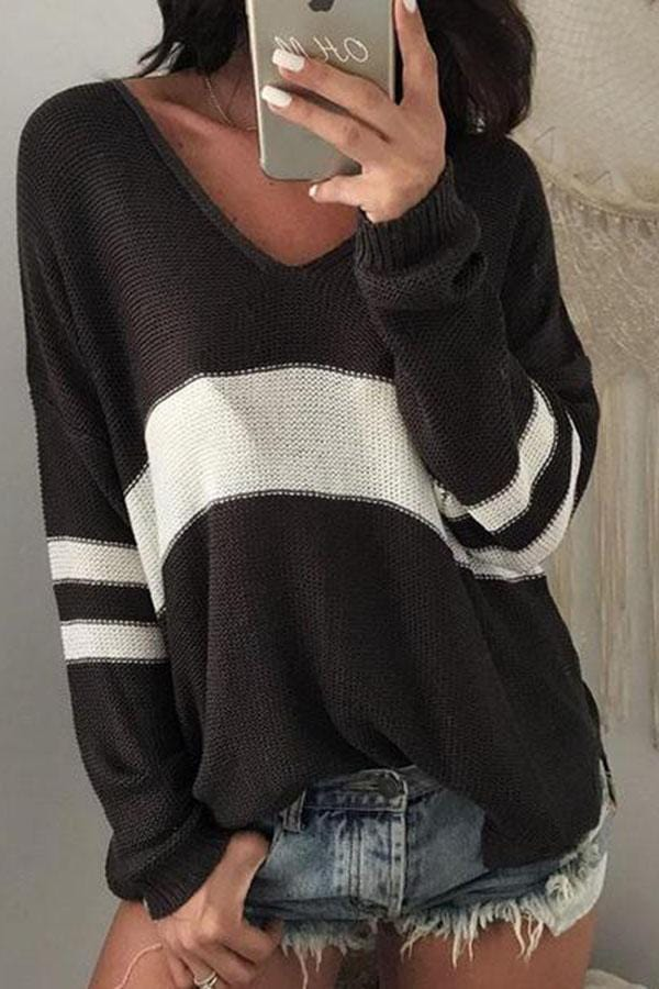 Arealook V Neck Knit Hollow Out Sweaters