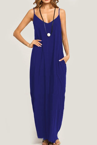 Arealook Summer Spaghetti Strap Pocket Plain Maxi Dress