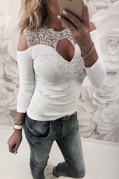 Round Neck  Hollow Out Lace Plain T-Shirts