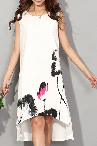 Ink Printed Loose Sleeveless Vacation Dress With Plus Size