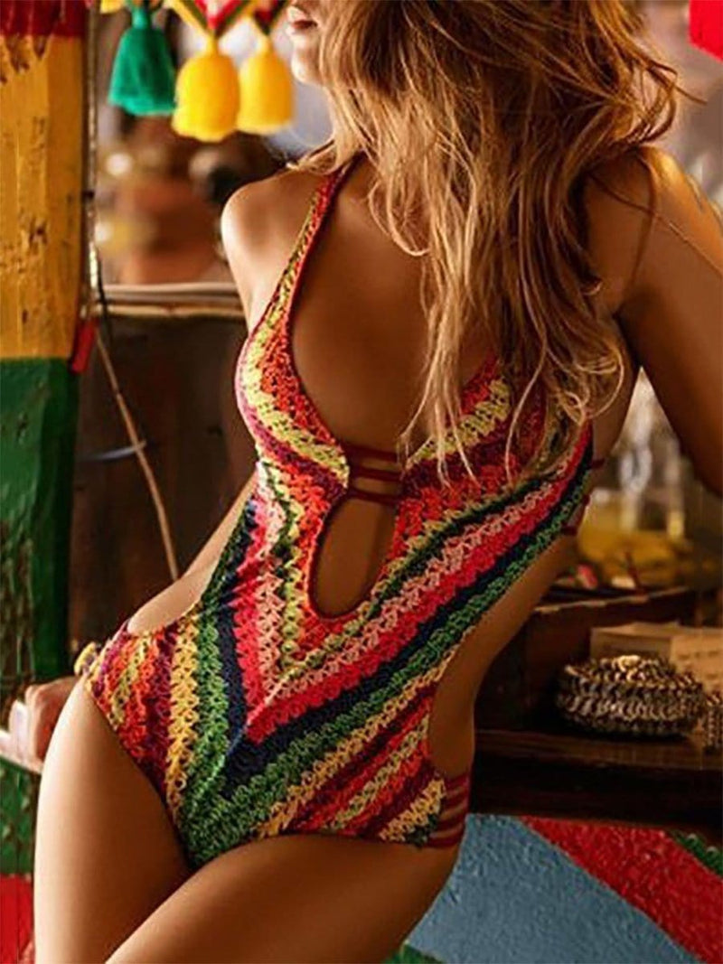 Halter  Asymmetric Stripe One Piece