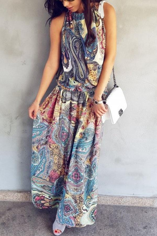 Arealook Halter  Printed  Sleeveless Maxi Dresses