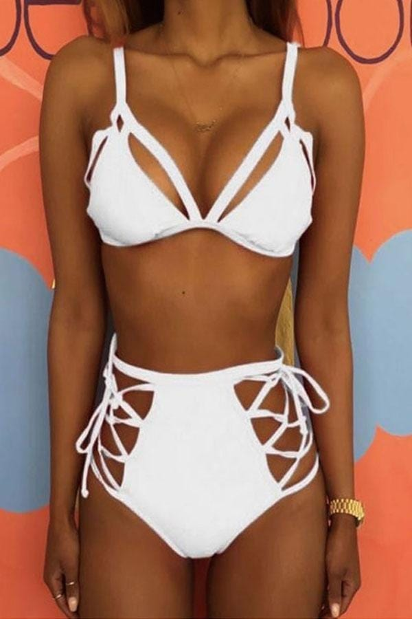 Spaghetti Strap  Lace Up  Hollow Out Plain Bikini